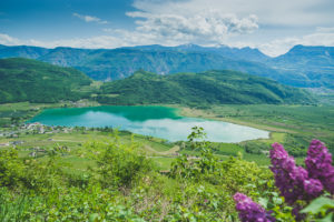 Beautiful Kaltern lake in the south of Südtirol