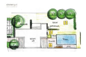 Sketch plan - Sinnergut holiday apartments with swimming pool in Nals, Südtirol